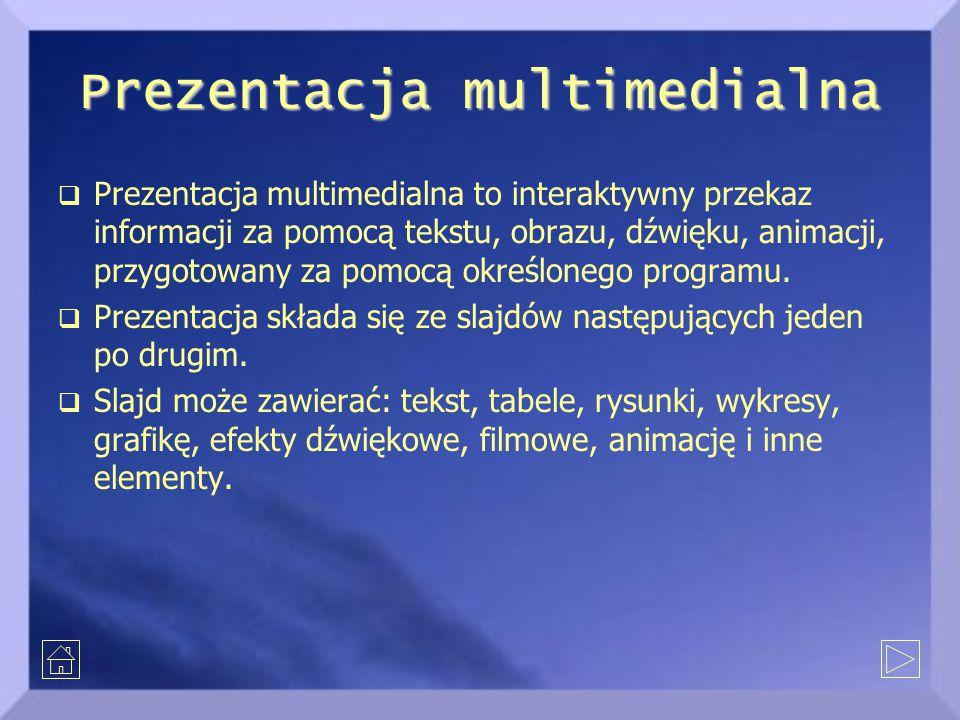 Prezentacja multimedialna  Prezentacja multimedialna to interaktywny przekaz informacji za pomocą tekstu, obrazu, dźwięku, animacji, przygotowany za