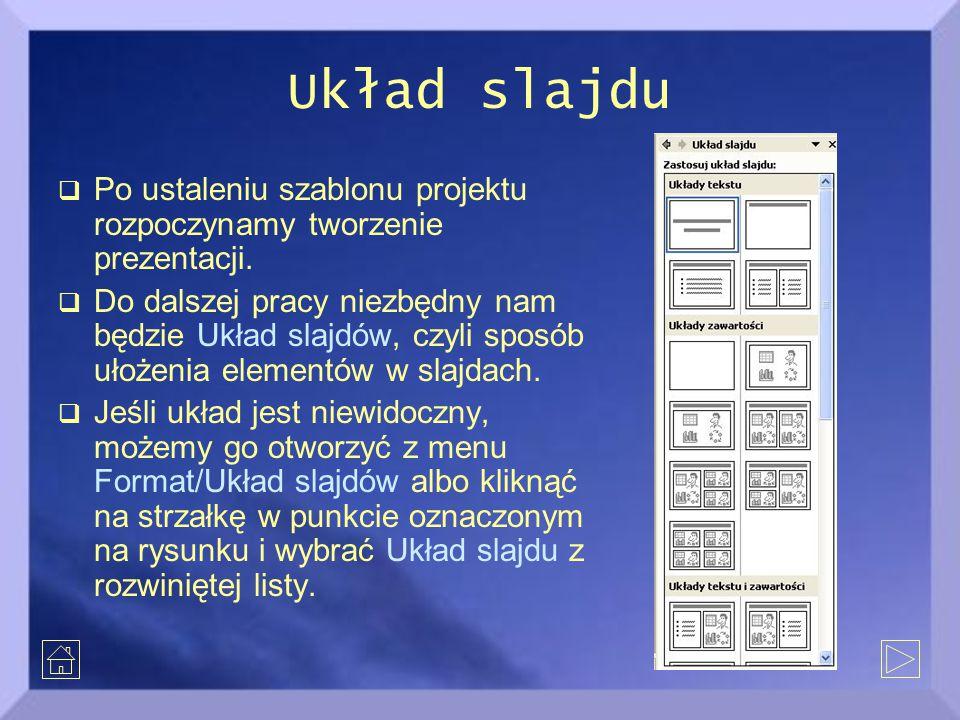 Układ slajdu  Po ustaleniu szablonu projektu rozpoczynamy tworzenie prezentacji.  Do dalszej pracy niezbędny nam będzie Układ slajdów, czyli sposób