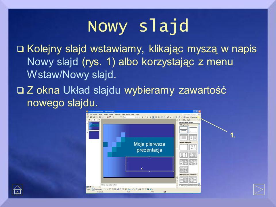 Nowy slajd  Kolejny slajd wstawiamy, klikając myszą w napis Nowy slajd (rys. 1) albo korzystając z menu Wstaw/Nowy slajd.  Z okna Układ slajdu wybie