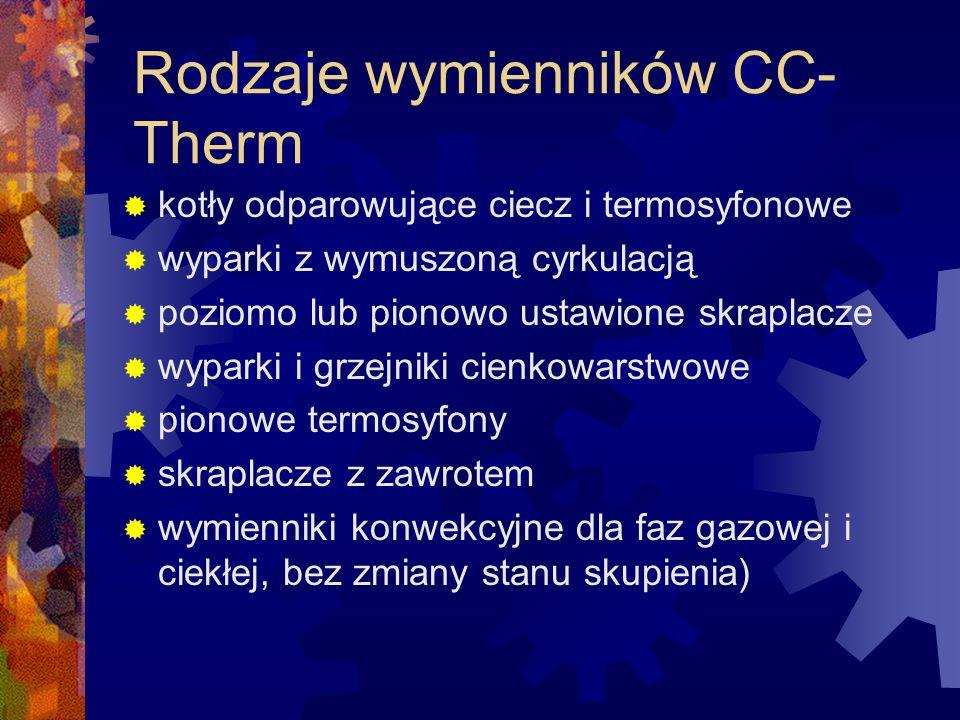 Rodzaje wymienników CC- Therm  kotły odparowujące ciecz i termosyfonowe  wyparki z wymuszoną cyrkulacją  poziomo lub pionowo ustawione skraplacze 