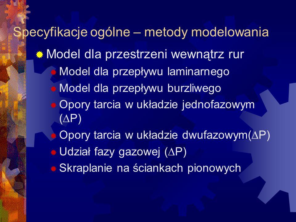 Specyfikacje ogólne – metody modelowania  Model dla przestrzeni wewnątrz rur  Model dla przepływu laminarnego  Model dla przepływu burzliwego  Opo