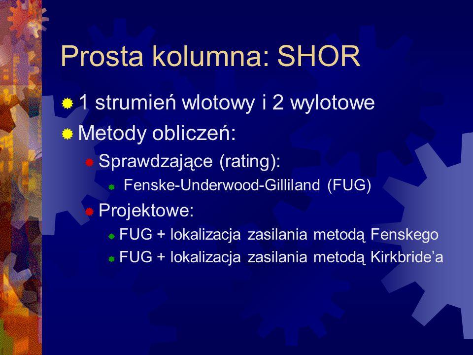 Prosta kolumna: SHOR  1 strumień wlotowy i 2 wylotowe  Metody obliczeń:  Sprawdzające (rating):  Fenske-Underwood-Gilliland (FUG)  Projektowe: 