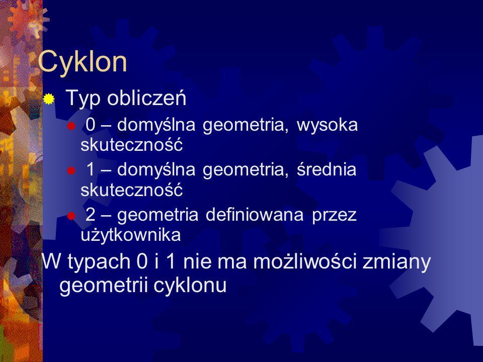 Cyklon  Typ obliczeń  0 – domyślna geometria, wysoka skuteczność  1 – domyślna geometria, średnia skuteczność  2 – geometria definiowana przez uży