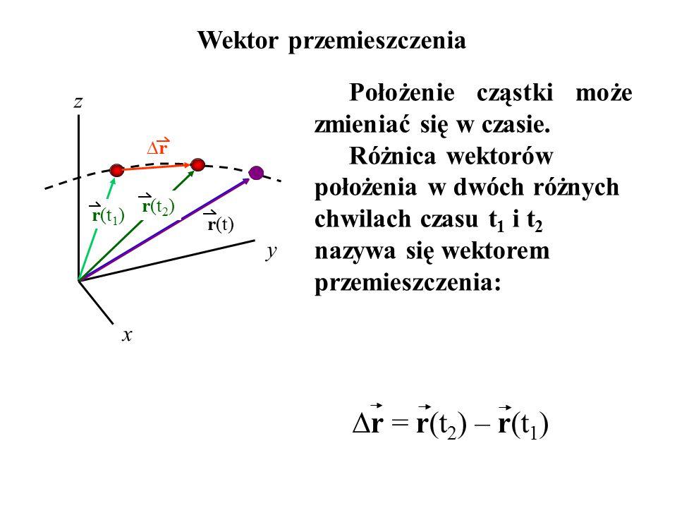 Wektor przemieszczenia  r = r(t 2 ) – r(t 1 ) x y z r(t) r(t 1 ) rr Położenie cząstki może zmieniać się w czasie. Różnica wektorów położenia w dwóc