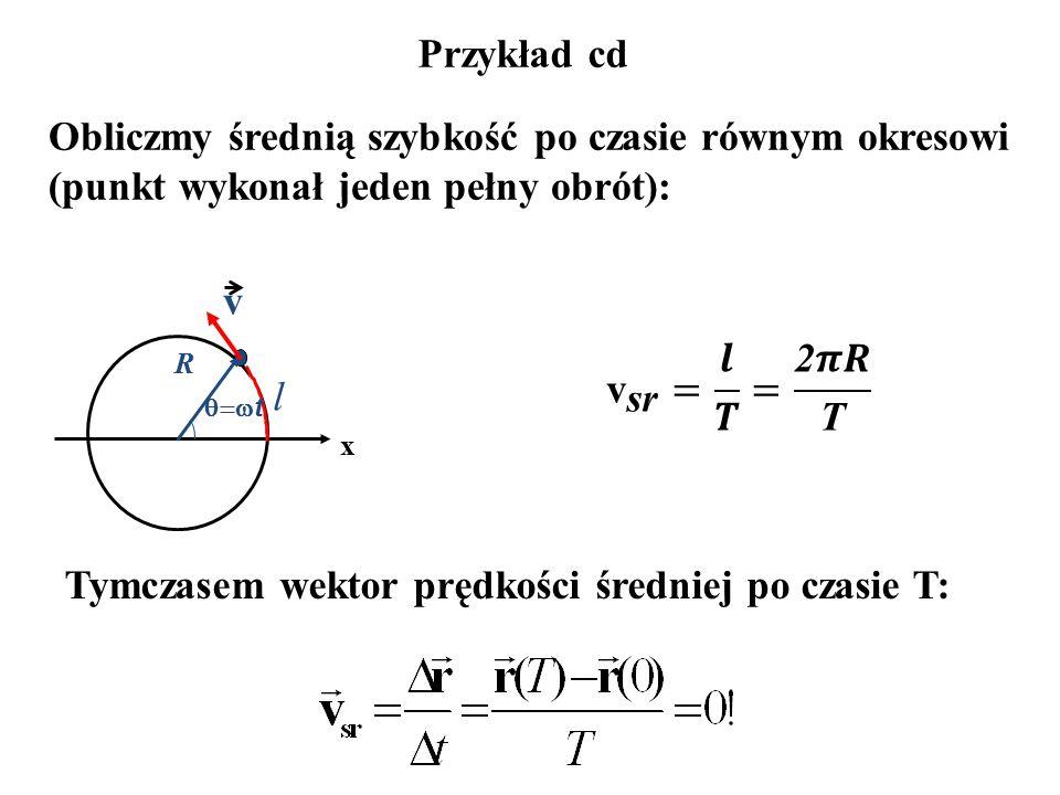 Przykład cd Obliczmy średnią szybkość po czasie równym okresowi (punkt wykonał jeden pełny obrót): Tymczasem wektor prędkości średniej po czasie T: R