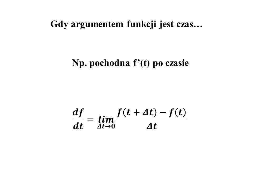 Gdy argumentem funkcji jest czas… Np. pochodna f'(t) po czasie