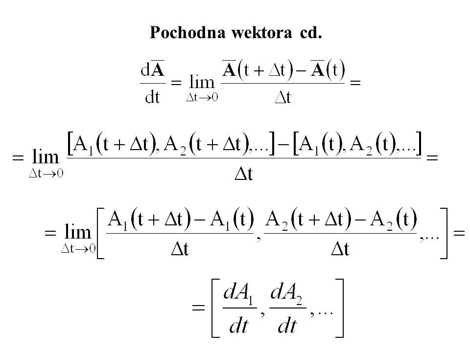Pochodna wektora Każdą składową wektora różniczkuje się osobno.
