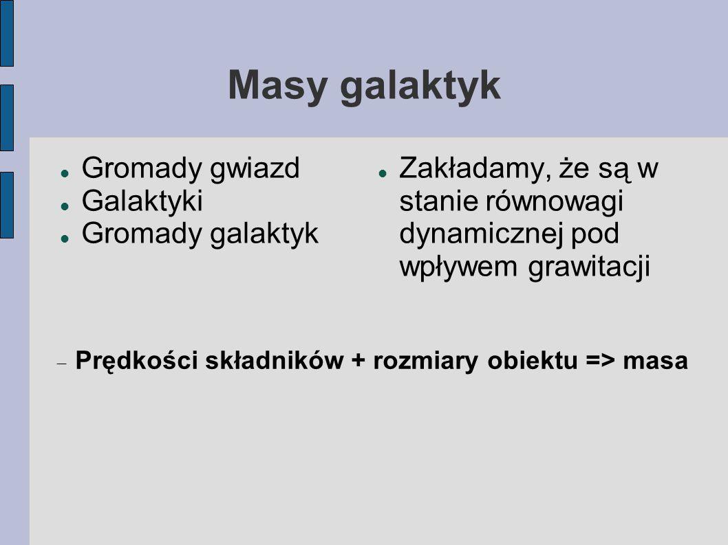 Masy galaktyk Gromady gwiazd Galaktyki Gromady galaktyk Zakładamy, że są w stanie równowagi dynamicznej pod wpływem grawitacji  Prędkości składników + rozmiary obiektu => masa
