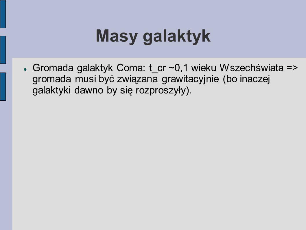 Masy galaktyk Gromada galaktyk Coma: t_cr ~0,1 wieku Wszechświata => gromada musi być związana grawitacyjnie (bo inaczej galaktyki dawno by się rozpro