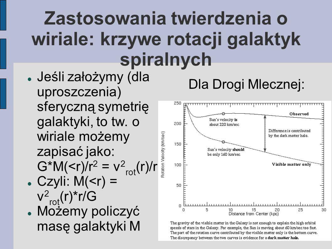 Jeśli założymy (dla uproszczenia) sferyczną symetrię galaktyki, to tw. o wiriale możemy zapisać jako: G*M(<r)/r 2 = v 2 rot (r)/r Czyli: M(<r) = v 2 r