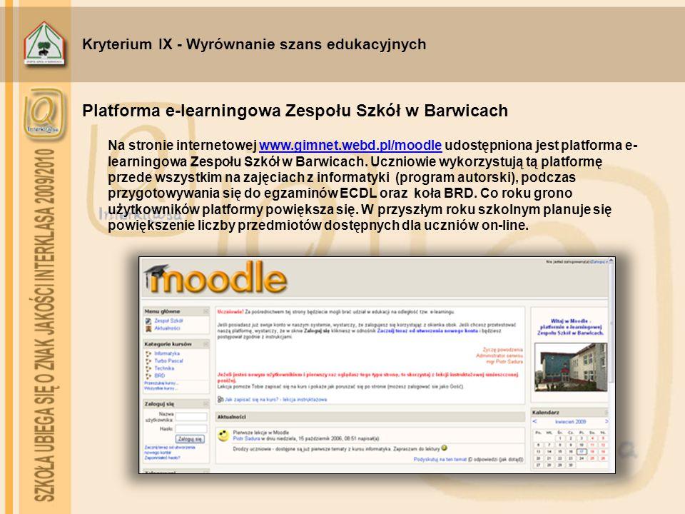 Kryterium IX - Wyrównanie szans edukacyjnych Na stronie internetowej www.gimnet.webd.pl/moodle udostępniona jest platforma e- learningowa Zespołu Szkó