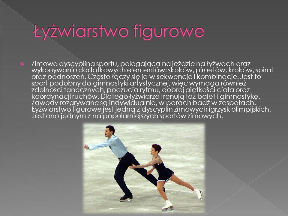  Zimowa dyscyplina sportu, polegająca na jeździe na łyżwach oraz wykonywaniu dodatkowych elementów: skoków, piruetów, kroków, spiral oraz podnoszeń.
