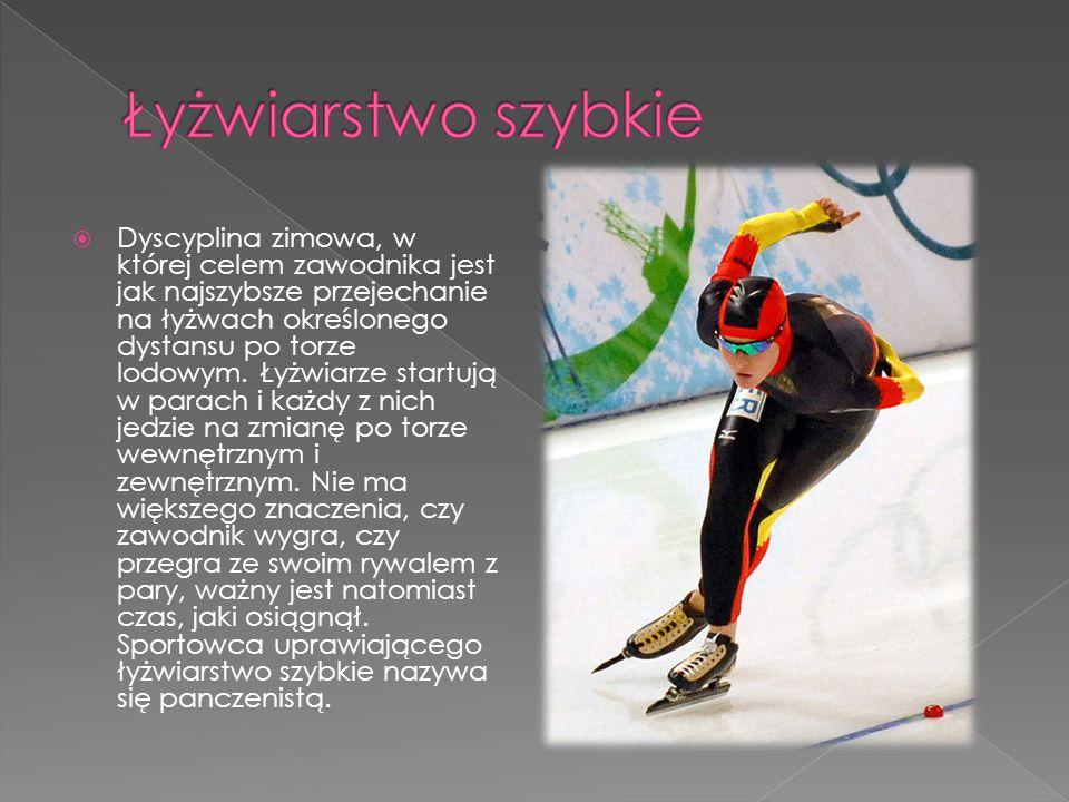  Dyscyplina zimowa, w której celem zawodnika jest jak najszybsze przejechanie na łyżwach określonego dystansu po torze lodowym. Łyżwiarze startują w