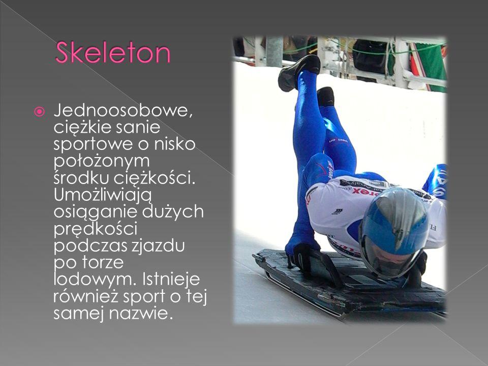  Jednoosobowe, ciężkie sanie sportowe o nisko położonym środku ciężkości. Umożliwiają osiąganie dużych prędkości podczas zjazdu po torze lodowym. Ist