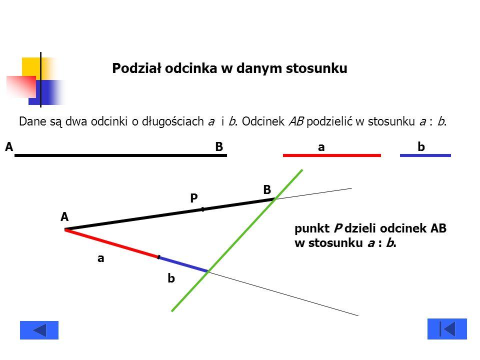 Podział odcinka w danym stosunku Dane są dwa odcinki o długościach a i b. Odcinek AB podzielić w stosunku a : b. ABab A B a b P punkt P dzieli odcinek