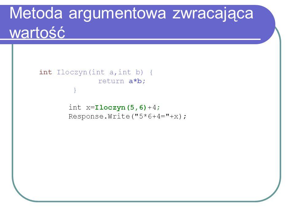 Metoda argumentowa zwracająca wartość int Iloczyn(int a,int b) { return a*b; } int x=Iloczyn(5,6)+4; Response.Write(
