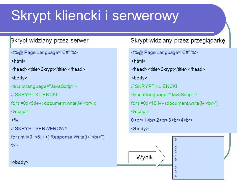 Skrypt kliencki i serwerowy Skrypt // SKRYPT KLIENCKI for (i=0;i ); <% // SKRYPT SERWEROWY for (int i=0;i ); %> Skrypt widziany przez serwer Skrypt // SKRYPT KLIENCKI for (i=0;i ); 0 1 2 3 4 Skrypt widziany przez przeglądarkę 01234012340123401234 Wynik