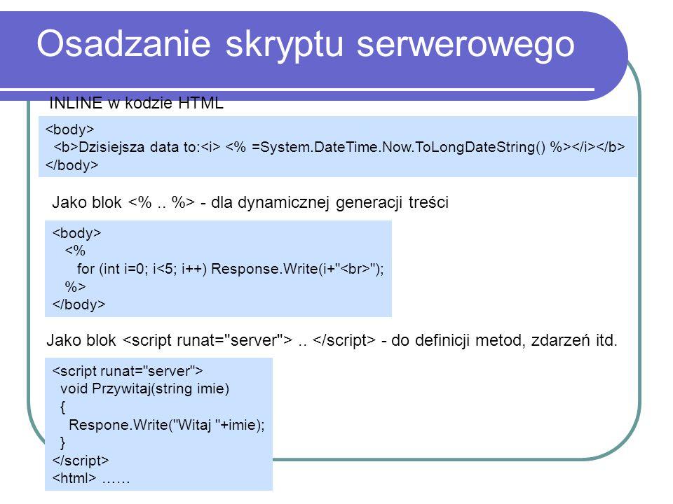 Osadzanie skryptu serwerowego INLINE w kodzie HTML Dzisiejsza data to: Jako blok - dla dynamicznej generacji treści <% for (int i=0; i