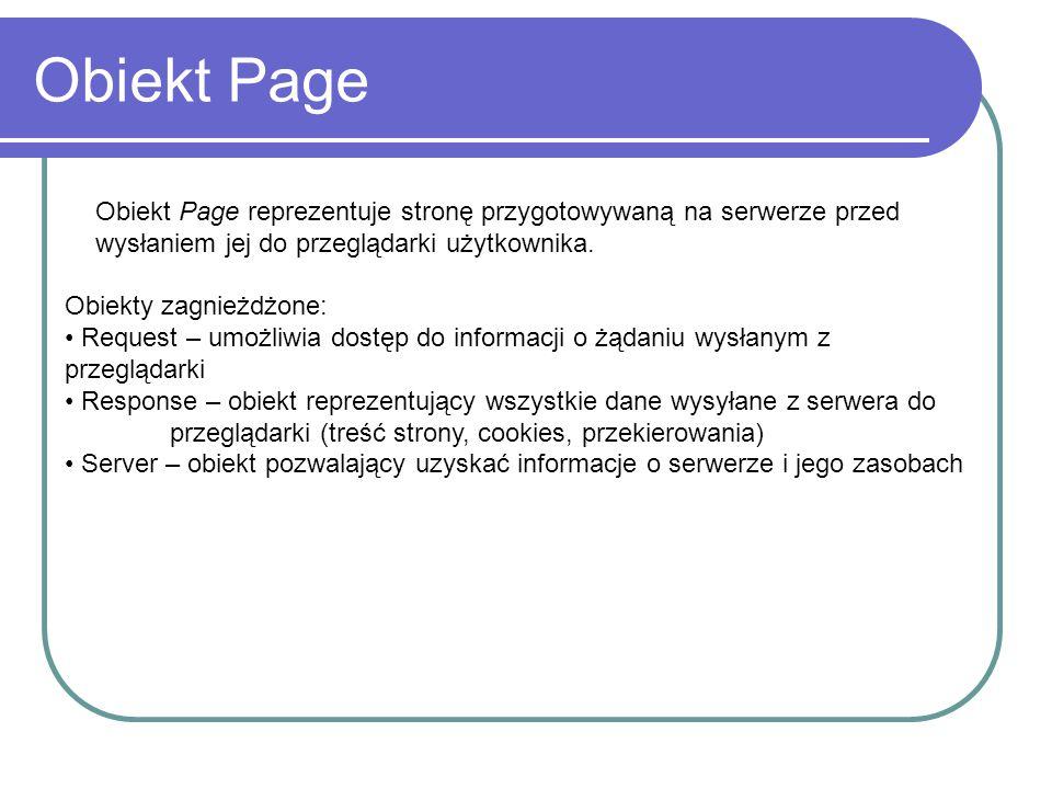 Obiekt Page Obiekt Page reprezentuje stronę przygotowywaną na serwerze przed wysłaniem jej do przeglądarki użytkownika. Obiekty zagnieżdżone: Request