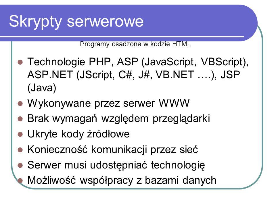 Skrypty serwerowe Technologie PHP, ASP (JavaScript, VBScript), ASP.NET (JScript, C#, J#, VB.NET ….), JSP (Java) Wykonywane przez serwer WWW Brak wymagań względem przeglądarki Ukryte kody źródłowe Konieczność komunikacji przez sieć Serwer musi udostępniać technologię Możliwość współpracy z bazami danych Programy osadzone w kodzie HTML