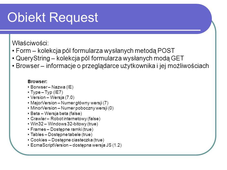 Obiekt Request Właściwości: Form – kolekcja pól formularza wysłanych metodą POST QueryString – kolekcja pól formularza wysłanych modą GET Browser – informacje o przeglądarce użytkownika i jej możliwościach Browser: Borwser – Nazwa (IE) Type – Typ (IE7) Version – Wersja (7.0) MajorVersion – Numer główny wersji (7) MinorVersion – Numer poboczny wersji (0) Beta – Wersja beta (false) Crawler – Robot internetowy (false) Win32 – Windows 32-bitowy (true) Frames – Dostępne ramki (true) Tables – Dostępne tabele (true) Cookies – Dostępne ciasteczka (true) EcmaScriptVersion – dostępna wersja JS (1.2)