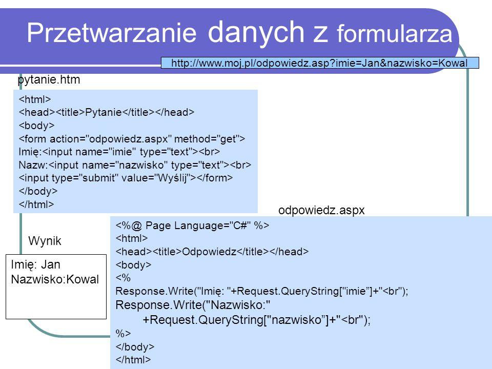 Przetwarzanie danych z formularza Pytanie Imię: Nazw: pytanie.htm Odpowiedz <% Response.Write(