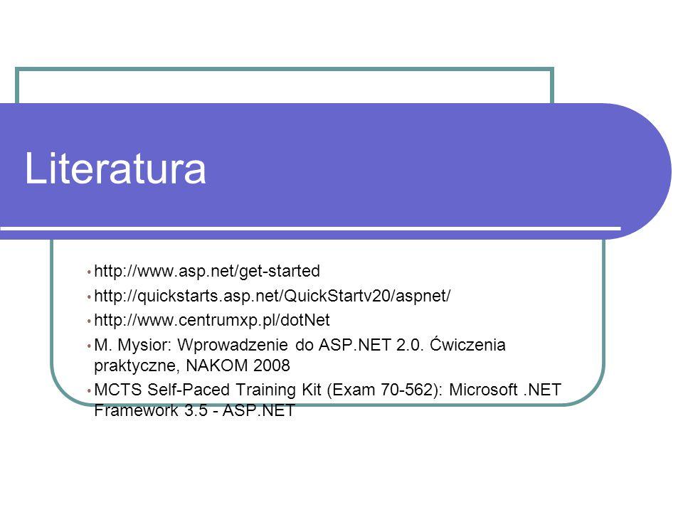 Literatura http://www.asp.net/get-started http://quickstarts.asp.net/QuickStartv20/aspnet/ http://www.centrumxp.pl/dotNet M.