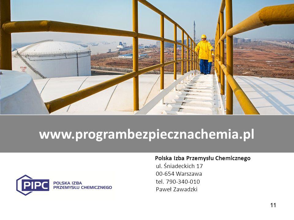 11 www.programbezpiecznachemia.pl Polska Izba Przemysłu Chemicznego ul. Śniadeckich 17 00-654 Warszawa tel. 790-340-010 Paweł Zawadzki 11