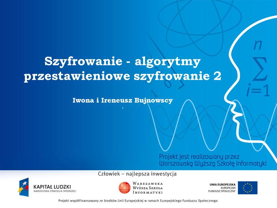 2 Szyfrowanie - algorytmy przestawieniowe szyfrowanie 2 Iwona i Ireneusz Bujnowscy,