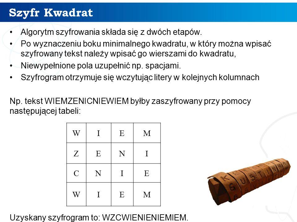 Szyfr Kwadrat 3 Algorytm szyfrowania składa się z dwóch etapów. Po wyznaczeniu boku minimalnego kwadratu, w który można wpisać szyfrowany tekst należy
