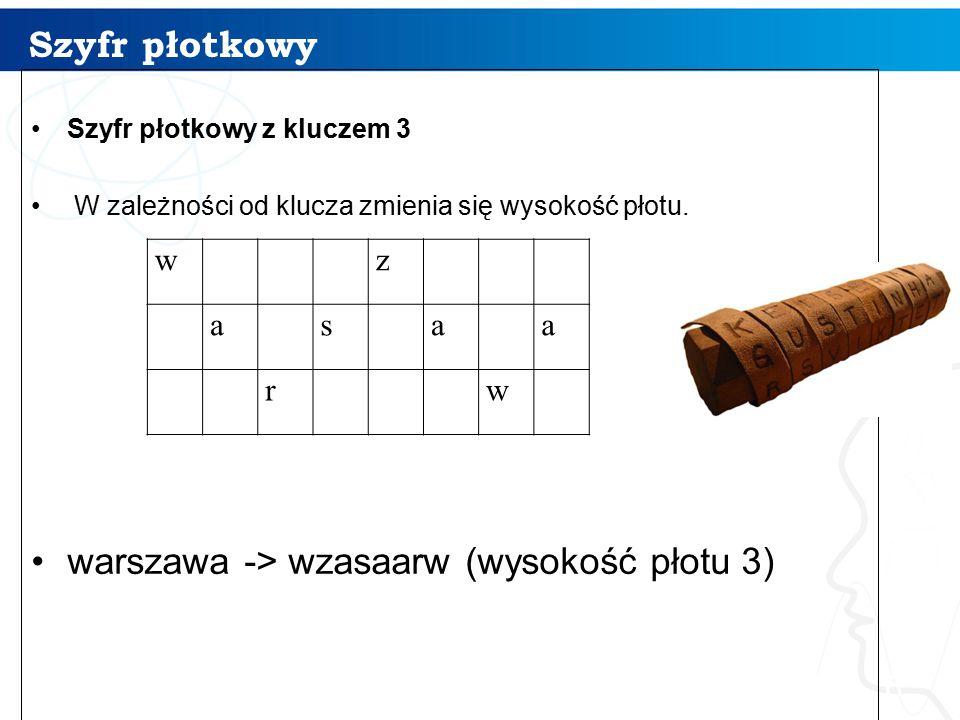 Szyfr płotkowy 6 Szyfr płotkowy z kluczem 3 W zależności od klucza zmienia się wysokość płotu. warszawa -> wzasaarw (wysokość płotu 3) w z a s a a r w