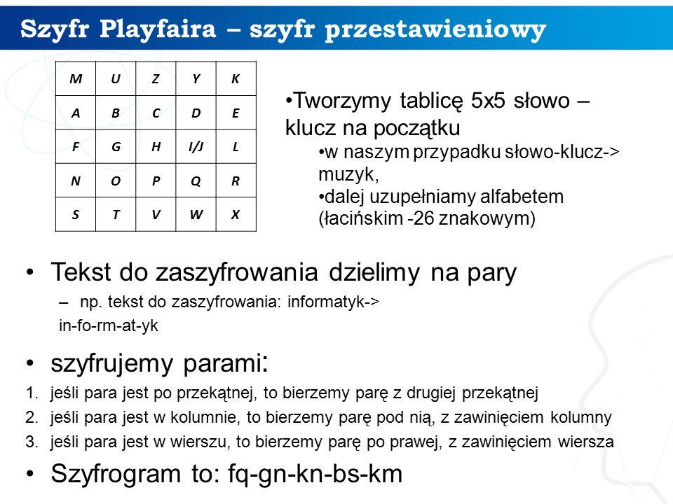 Szyfr Playfaira – szyfr przestawieniowy 9 Tekst do zaszyfrowania dzielimy na pary –np. tekst do zaszyfrowania: informatyk-> in-fo-rm-at-yk szyfrujemy