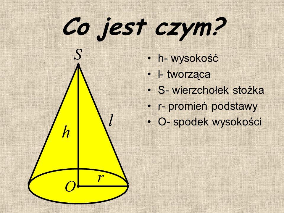 Jak powstaje??? STOŻEK przedstawiony na rysunku powstaje w wyniku obrotu trójkąta prostokątnego względem jednej z przyprostokątnych