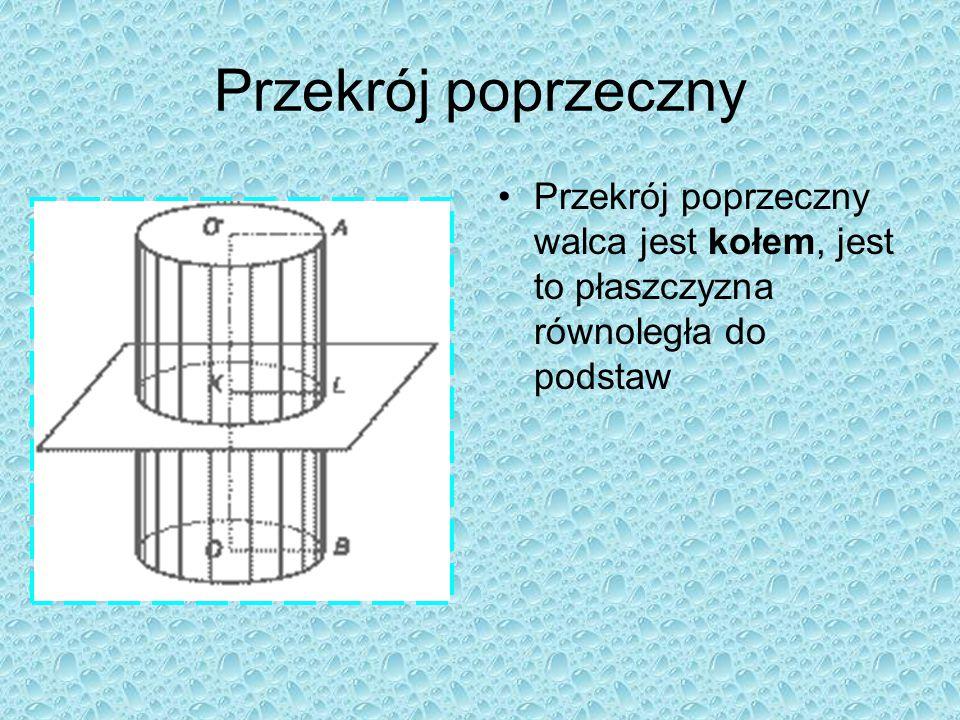 Przekrój osiowy Walca Przekrój walca płaszczyzną prostopadłą do podstawy jest prostokątem Przekrój walca płaszczyzną zawierającą oś walca nazywamy prz