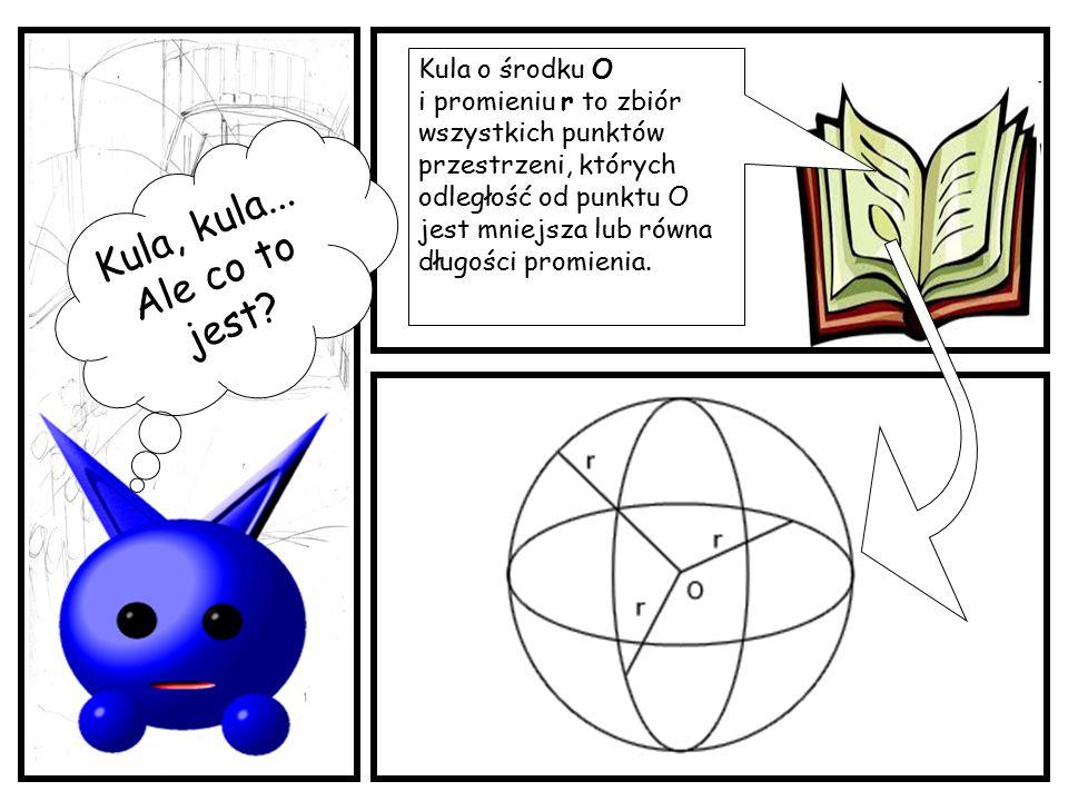 Kula, kula... Ale co to jest? Kula o środku O i promieniu r to zbiór wszystkich punktów przestrzeni, których odległość od punktu O jest mniejsza lub r