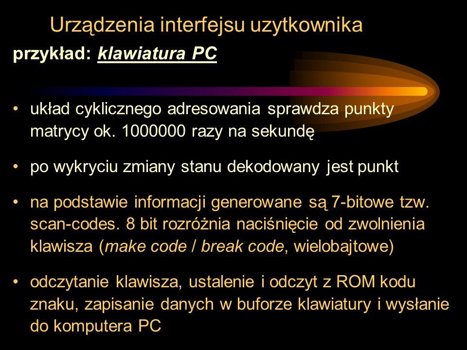 Urządzenia interfejsu uzytkownika przykład: klawiatura PC układ cyklicznego adresowania sprawdza punkty matrycy ok. 1000000 razy na sekundę po wykryci