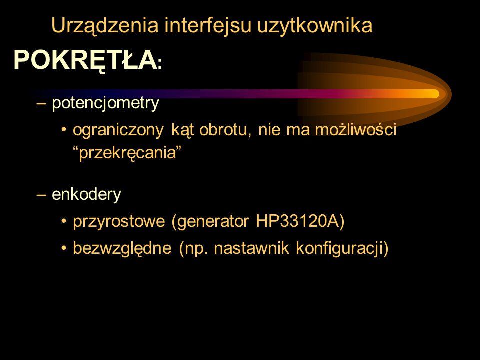 """Urządzenia interfejsu uzytkownika POKRĘTŁA : –potencjometry ograniczony kąt obrotu, nie ma możliwości """"przekręcania"""" –enkodery przyrostowe (generator"""