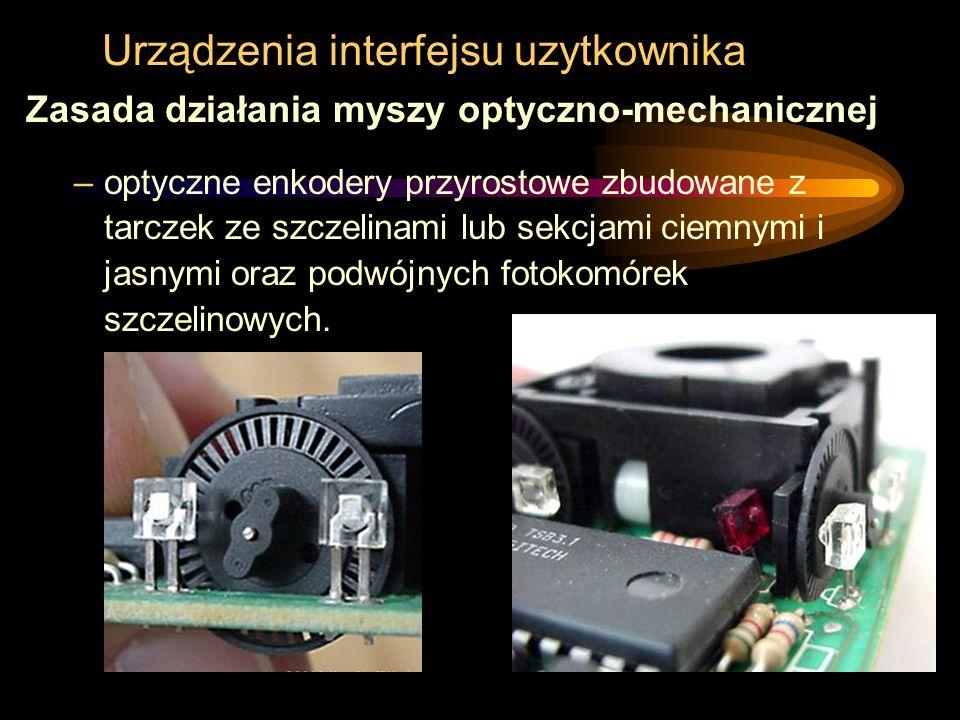 Urządzenia interfejsu uzytkownika Zasada działania myszy optyczno-mechanicznej –optyczne enkodery przyrostowe zbudowane z tarczek ze szczelinami lub s