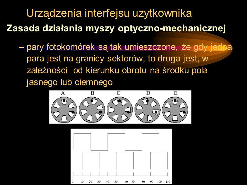 Urządzenia interfejsu uzytkownika Zasada działania myszy optyczno-mechanicznej –pary fotokomórek są tak umieszczone, że gdy jedna para jest na granicy