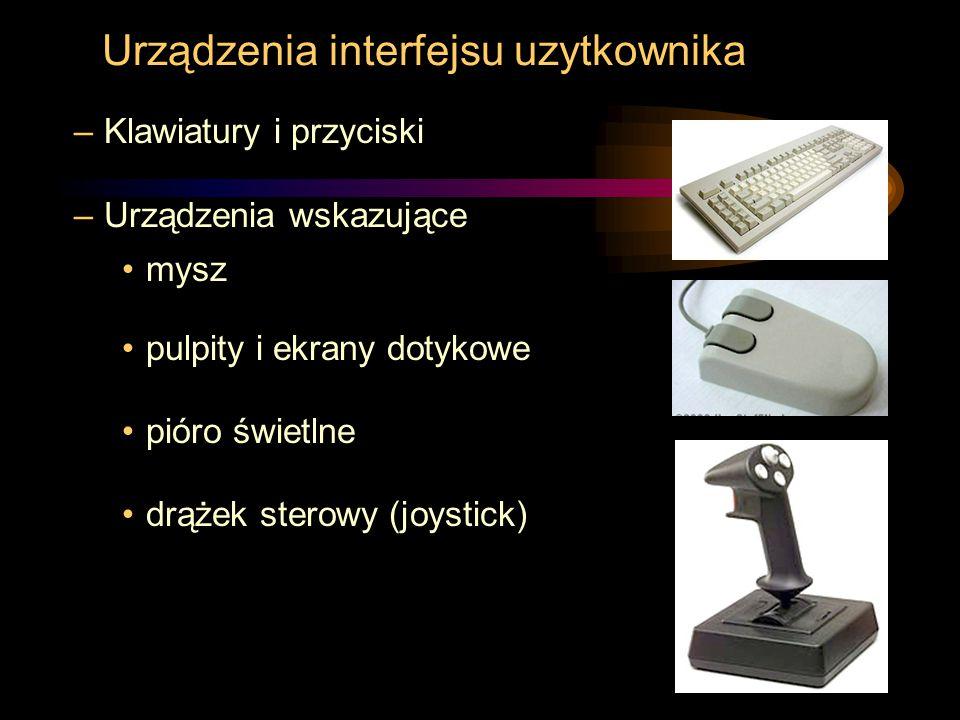 Urządzenia interfejsu uzytkownika –Klawiatury i przyciski –Urządzenia wskazujące mysz pulpity i ekrany dotykowe pióro świetlne drążek sterowy (joystic