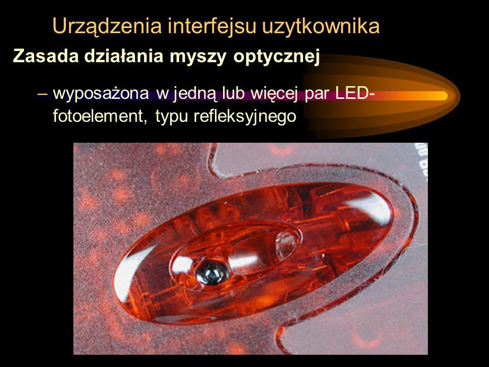 Urządzenia interfejsu uzytkownika Zasada działania myszy optycznej –wyposażona w jedną lub więcej par LED- fotoelement, typu refleksyjnego