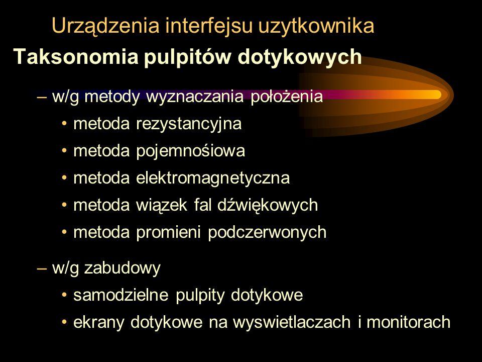 Urządzenia interfejsu uzytkownika Taksonomia pulpitów dotykowych –w/g metody wyznaczania położenia metoda rezystancyjna metoda pojemnośiowa metoda ele