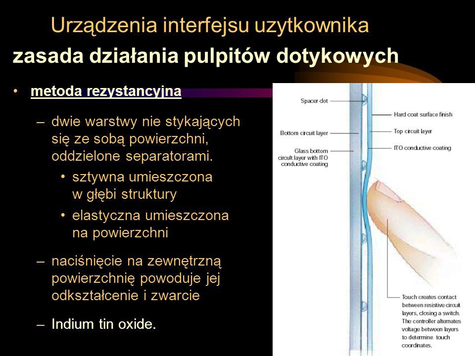 Urządzenia interfejsu uzytkownika zasada działania pulpitów dotykowych metoda rezystancyjna –dwie warstwy nie stykających się ze sobą powierzchni, odd