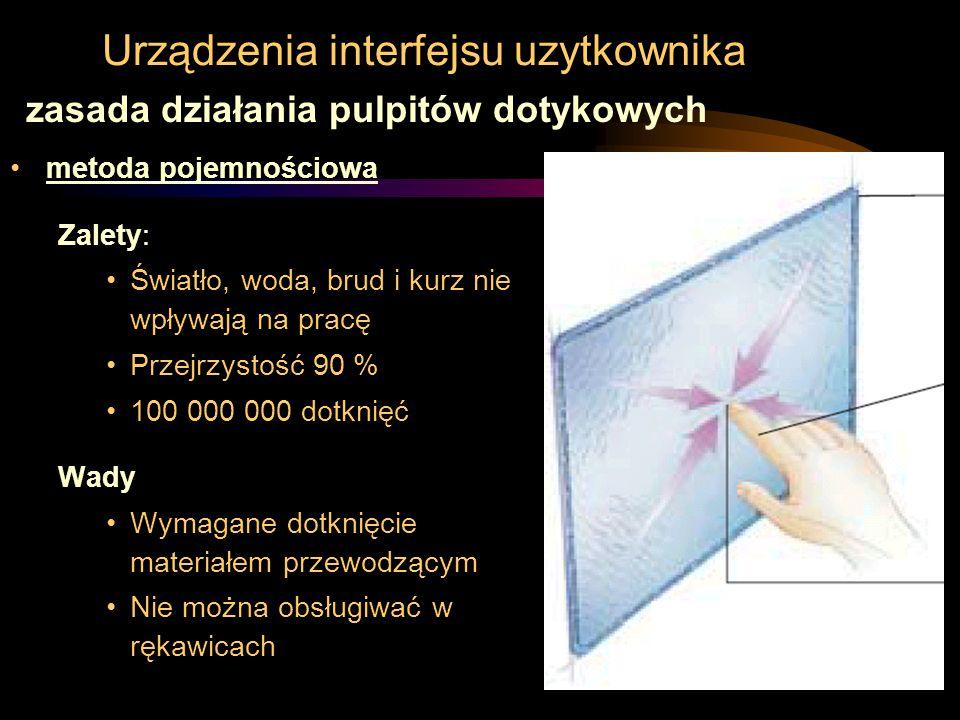 Urządzenia interfejsu uzytkownika metoda pojemnościowa Zalety: Światło, woda, brud i kurz nie wpływają na pracę Przejrzystość 90 % 100 000 000 dotknię