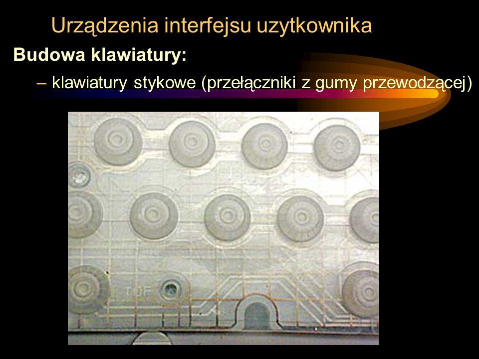 Urządzenia interfejsu uzytkownika Budowa klawiatury: –klawiatury stykowe (przełączniki z gumy przewodzącej)