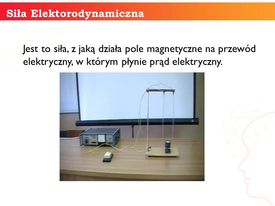 informatyka + 10 Siła Elektorodynamiczna Jest to siła, z jaką działa pole magnetyczne na przewód elektryczny, w którym płynie prąd elektryczny.