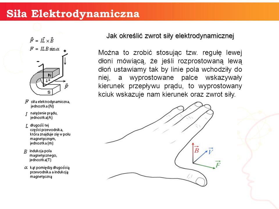 informatyka + 11 Siła Elektrodynamiczna Jak określić zwrot siły elektrodynamicznej Można to zrobić stosując tzw. regułę lewej dłoni mówiącą, że jeśli