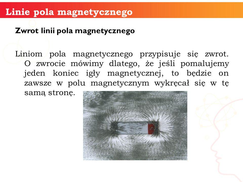 Zwrot linii pola magnetycznego Liniom pola magnetycznego przypisuje się zwrot. O zwrocie mówimy dlatego, że jeśli pomalujemy jeden koniec igły magnety