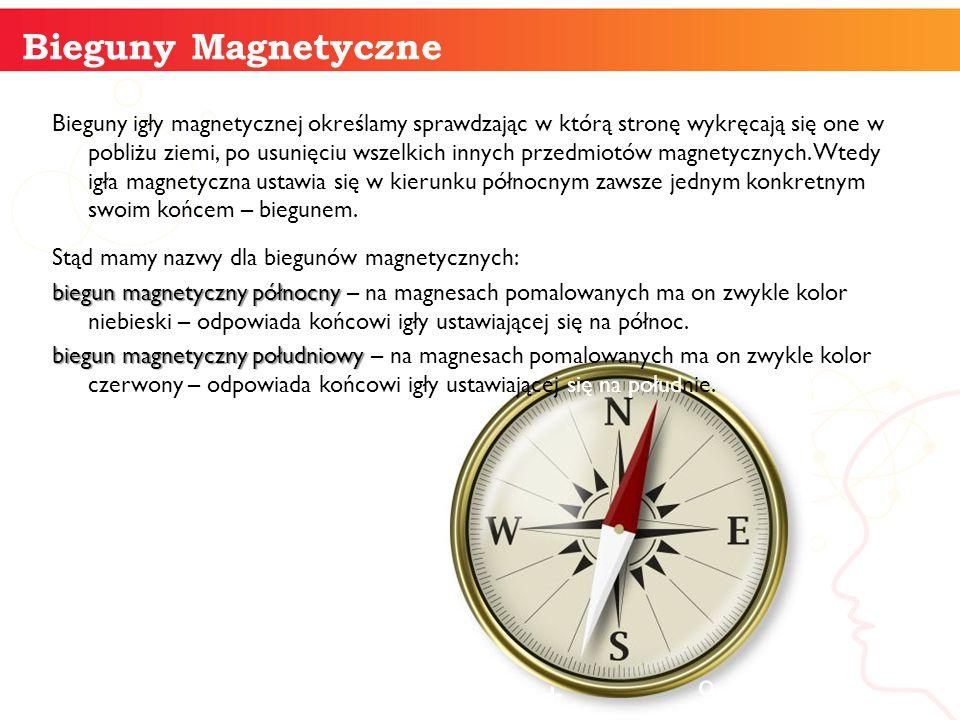 Bieguny igły magnetycznej określamy sprawdzając w którą stronę wykręcają się one w pobliżu ziemi, po usunięciu wszelkich innych przedmiotów magnetyczn