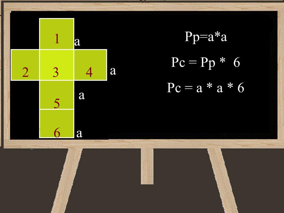 a a a a Pp=a*a Pc = Pp * 6 Pc = a * a * 6 1 234 5 6